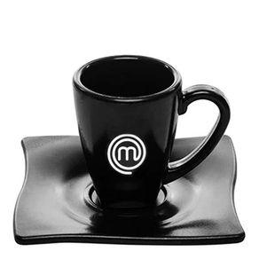 Xícara Elegance Para Café 80ml Preta em Policarbonato MasterChef Frente