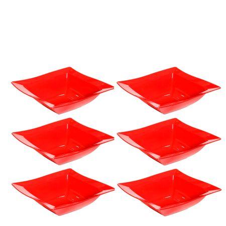 Conjunto de Saladeira Moove 2L 6 peças Vermelho em Polipropileno Linha Tropical Vemplast
