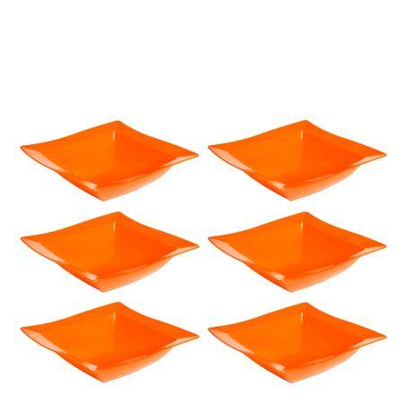Conjunto de Saladeira Moove 2L 6 peças Laranja em Polipropileno Linha Tropical Vemplast