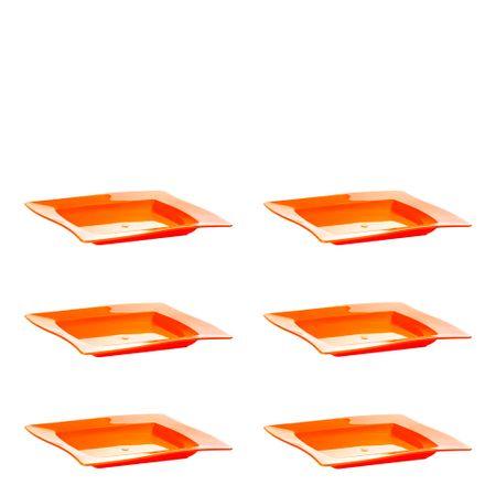 Conjunto de Saladeira Moove Rasa 1L 6 Peças Laranja em Polipropileno Linha Tropical Vemplast
