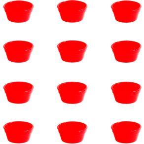 Conjunto de Ramequim Cheff 60ml 12 Peças Vermelho em Polipropileno Linha Tropical Vemplast