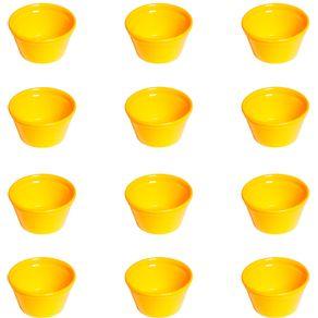 Conjunto de Ramequim Cheff 90ml 12 Peças Amarelo em Polipropileno Linha Tropical Vemplast