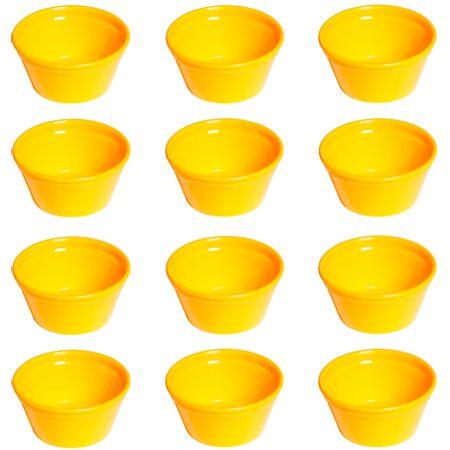 Conjunto de Ramequim Cheff 150ml 12 Peças Amarelo em Polipropileno Linha Tropical Vemplast
