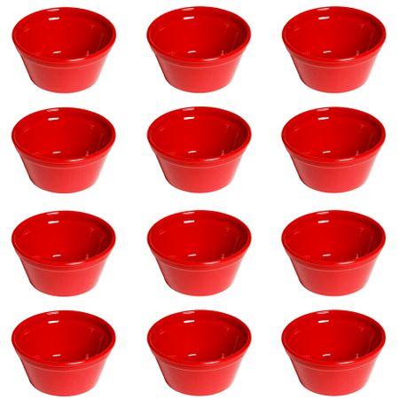 Conjunto de Ramequim Cheff 150ml 12 Peças Vermelho em Polipropileno Linha Tropical Vemplast