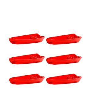Conjunto de Barca Sushi 600ml 6 Peças Vermelho em Polipropileno Linha Tropical Vemplast