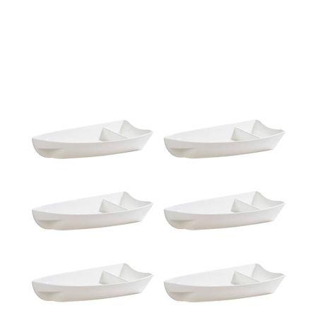 Conjunto de Barca Sushi 600ml 6 Peças Branco em Polipropileno Linha Tropical Vemplast