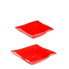 Kit Saladeira Moove 800ml + 2L Vermelho em Polipropileno Linha Tropical Vemplast