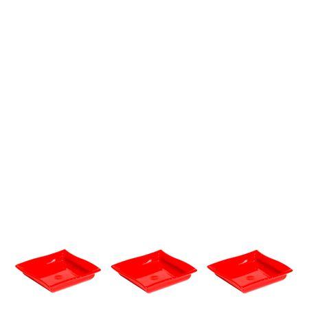 Conjunto de Molheira Shoyu 60ml 3 Peças Vermelho em Polipropileno MasterChef Vemplast