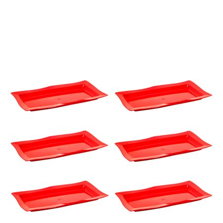 Conjunto de Saladeira Moove Rasa 3L 6 Peças Vermelho em Polipropileno Linha Tropical Vemplast