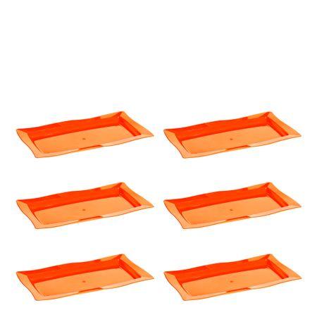 Conjunto de Saladeira Moove Rasa 3L 6 Peças Laranja em Polipropileno Linha Tropical Vemplast