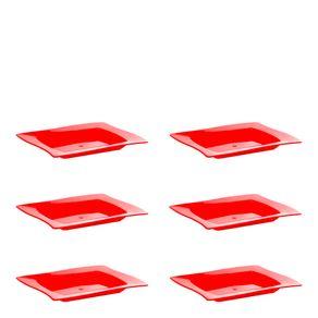 Conjunto de Saladeira Moove Rasa 1L 6 Peças Vermelho em Polipropileno Linha Tropical Vemplast
