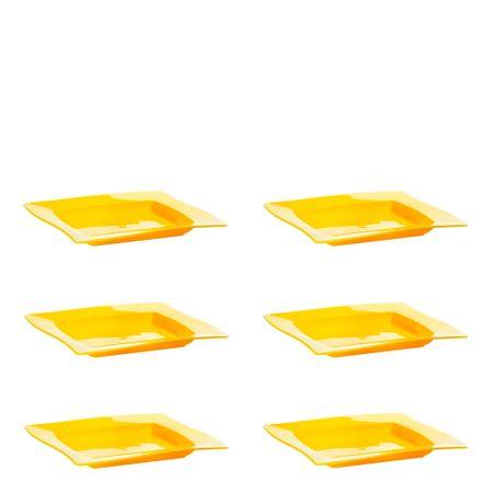 Conjunto de Saladeira Moove Rasa 1L 6 Peças Amarelo em Polipropileno Linha Tropical Vemplast