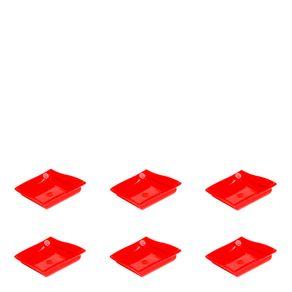 Conjunto de Molheira Moove 35ml 6 Peças Vermelho em Polipropileno MasterChef Vemplast