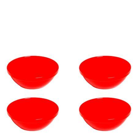 Conjunto de Sopeiras Cheff 250ml 4 Peças Vermelho em Polipropileno Vemplast