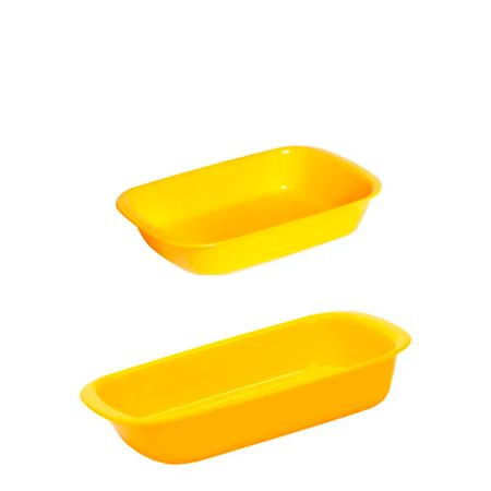 Conjunto de Travessa Servir 800ml + 1,2L 2 Peças Amarelo em Polipropileno Vemplast