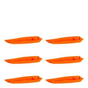 Conjunto de Barca Sushi 3,5L 6 Peças Laranja em Polipropileno Linha Tropical Vemplast