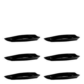 Conjunto de Barca Sushi 3,5L 6 Peças Preto em Polipropileno Linha Tropical Vemplast