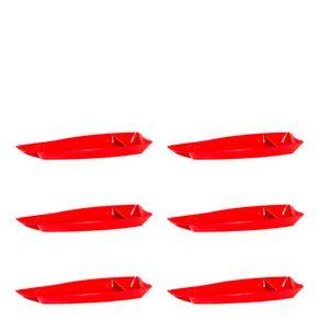 Conjunto de Barca Sushi 3,5L 6 Peças Vermelho em Polipropileno Linha Tropical Vemplast