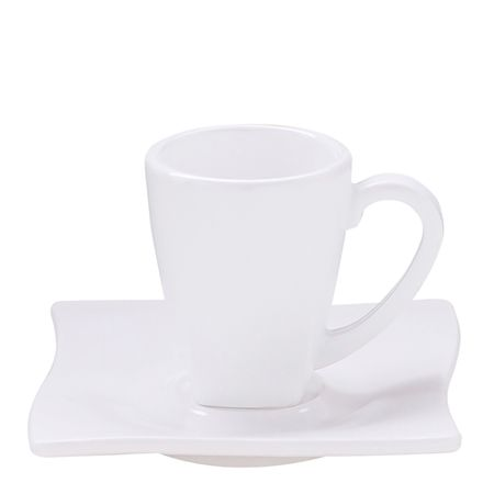 Xícara Elegance Para Café Com Pires 80ml Branca em Policarbonato Linha Profissional Cook Vemplast