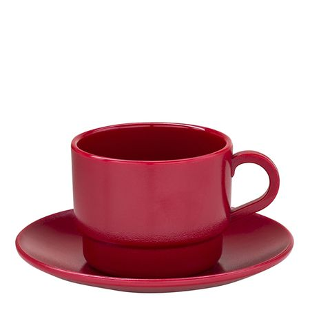 Xícara Elegance Para Chá Com Pires 250ml Vermelha em Policarbonato Linha Profissional Cook Vemplast