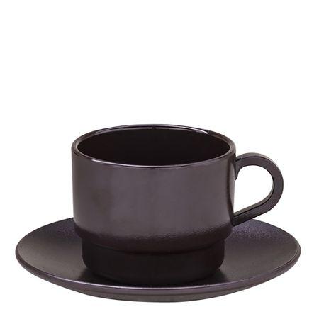 Xícara Elegance Para Chá Com Pires 250ml Marrom em Policarbonato Linha Profissional Cook Vemplast
