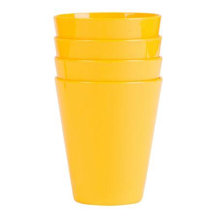 Conjunto de Copos Fresc 350ml 4 Peças Amarelo em Polipropileno Linha Tropical Vemplast
