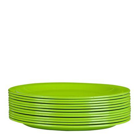 Conjunto de Prato Elegance 19cm 12 Peças Verde em Polipropileno Linha Tropical Vemplast