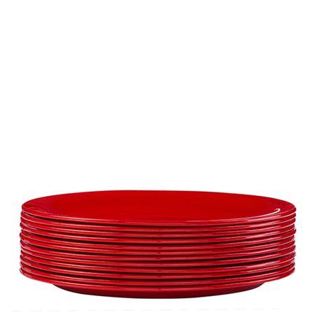 Conjunto de Prato Elegance 19cm 12 Peças Vermelho em Polipropileno Linha Tropical Vemplast